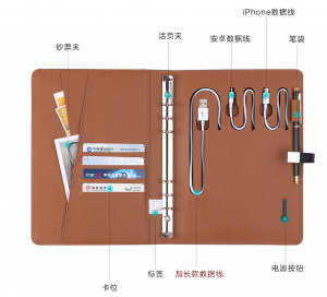 A5 Size top grade Business Portfolio with Power bank and USB Disk