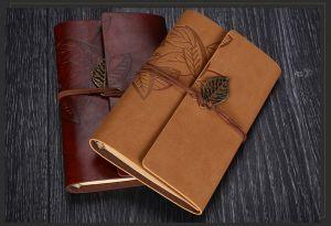 A6 A7 Leaf PU Cover Classic Students Notebook