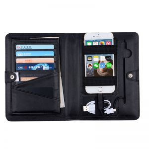 High quality Business style Passport holder with Power bank and Charge Cable